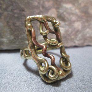 Molten Metal WATERFALL Ring Wire Work Ring Bronze